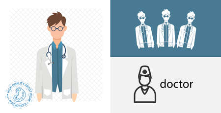 Doctor isolated flat icon. solid and line medicine design element