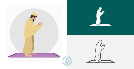 Muslim man prays. namaz isolated flat icon. line, solid islamic design element