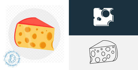 Cheese isolated vector icon. line, solid food design element Ilustracja