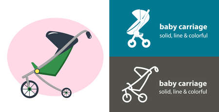 baby carriage isolated vector icon. carriage line, solid flat icon