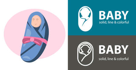 Baby Kid Child isolated vector icon. Baby line, solid flat icon