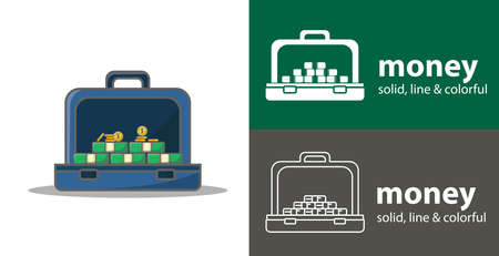 suitcase full of money isolated vector flat icon. business money line solid design element