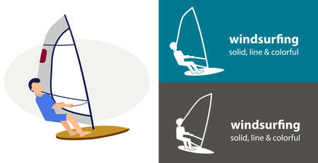 windsurfer isolated vector flat icon. silhouette line solid design element Ilustração