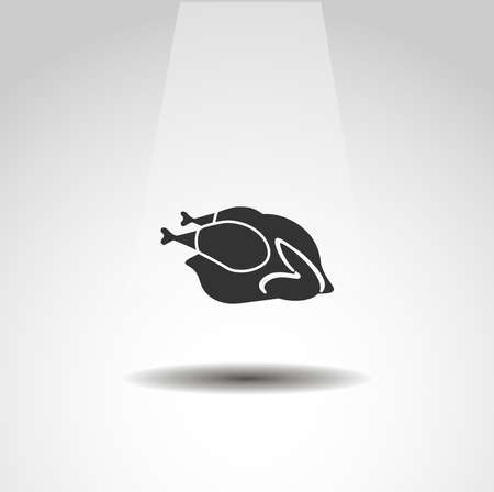 Roasted chicken isolated vector icon. food design element