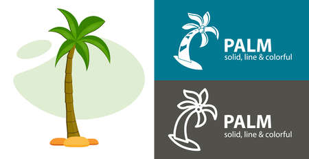palm isolated vector flat icon. plant line solid design element