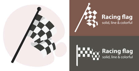 racing flag isolated vector icon. racing sport line solid flar icon