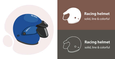 motorcycle helmet isolated vector icon. racing sport line solid flar icon