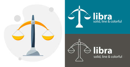 Libra flat icon. Scales isolated vector icon. religion line solid flat icon