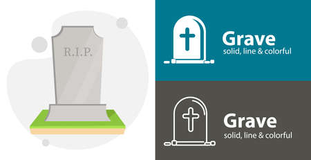 Grave illustration, Death isolated vector icon. religion line solid flat icon Vektoros illusztráció