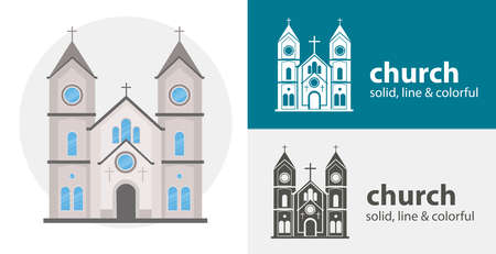 church isolated vector icon. religion line solid flat icon