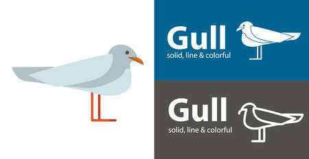 seagull isolated vector icon. sea line solid flat icon