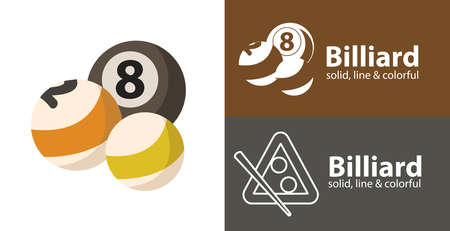 Billiard balls isolated vector flat icon with sport solid, line icons
