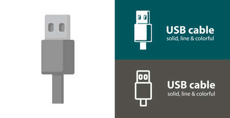 USB cable isolated vector flat icon with technology electronics solid, line icons