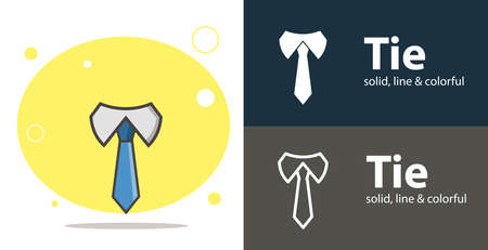 tie isolated vector flat icon with tie solid, line icons