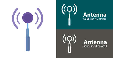 antenna icon. cellular isolated vector flat icon with technology electronics solid, line icons