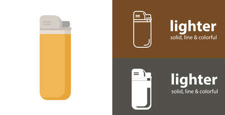lighter for smoke isolated vector flat icon with smoking solid, line icons