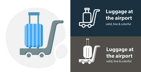 Luggage at the airport flat icon, with airport simple, line icon