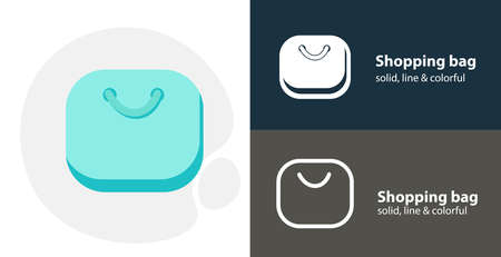 shopping bag flat icon, with shopping bag simple, line icon Ilustrace