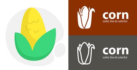 corn flat icon, with corn simple, line icon