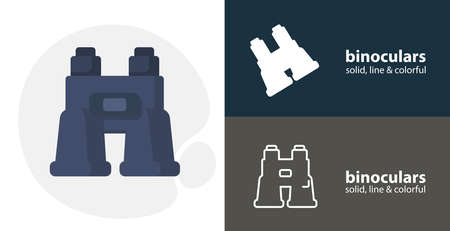 binoculars flat icon, with binoculars simple, line icon