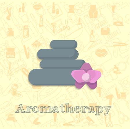 hot stone massage vector flat illustration, aromatherapy vector illustration