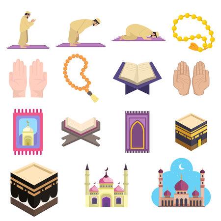 Muslim islam prayer vector clip art set with mosque, koran, hadj, kaaba, carpet