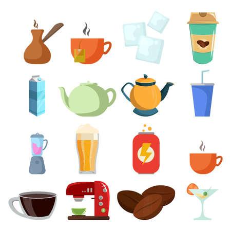 drinks vector clip art set with beer, coffee, milk box, soda, energy drink, cup of coffee, kettle, tea