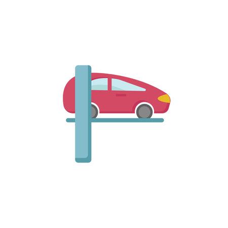 Car lifting clipart. Car lifting repair isolated simple flat vector clipart Ilustração Vetorial