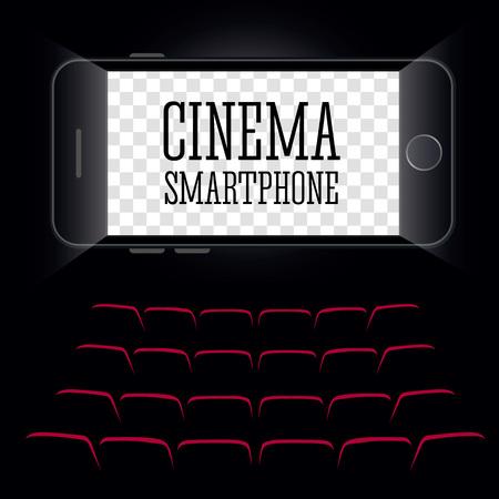 Cinema in the smartphone. Black background. Vector