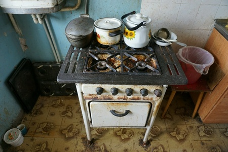 very dirty: Very old dirty gas stove