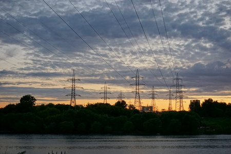 wire: Wired sunset. Nature vs technology