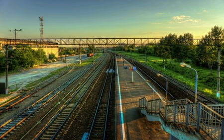 suburbs: Railway platform in the suburbs of Moscow Stock Photo