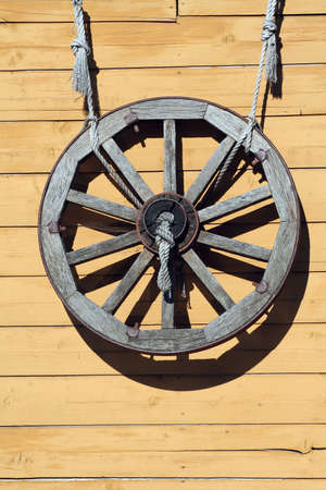 An old wooden wheel photo
