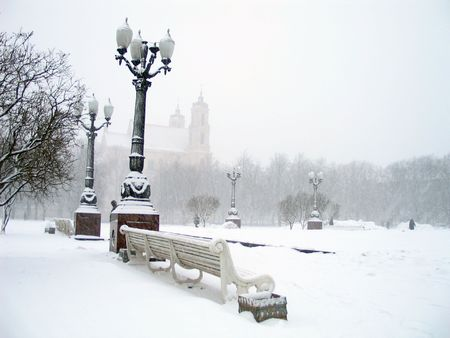 lithuania: Blizzard in square of Vilnius, Lithuania.