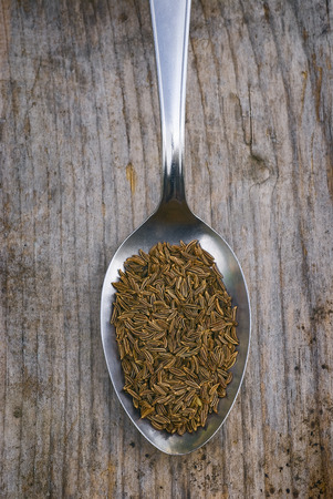 Close up of dry caraway seeds. with Spoon full photo