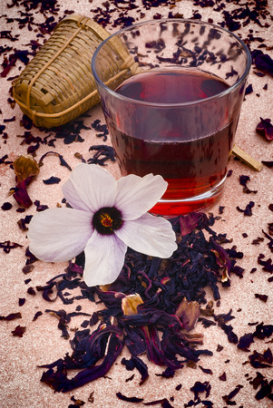 sepals: Hibiscus tea (Hibiscus sabdariffa) also known as Karkad? or Roselle. Flower and sepals dried for infusions