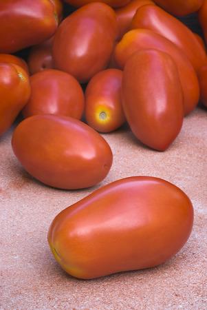 San Marzano tomatoes for tomato puree (Pomarola), Italian cuisine Archivio Fotografico