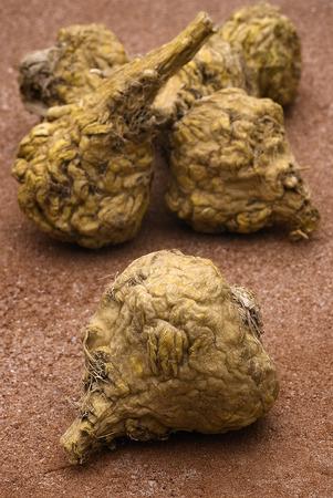 maca: Ginseng peruano o la maca (Lepidium meyenii), ra�z seca en la mesa