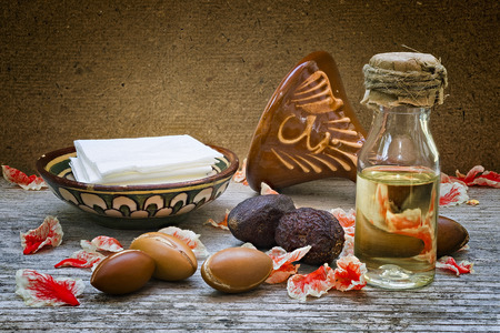 Argan fruit (Argania spinosa), nuts and oil, this original seed of Morocco is used in cosmetics