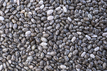 Chia seeds (Salvia hispanica) background textures. many seeds spread out Stock fotó