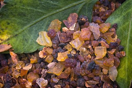 myrrh (Commiphora myrrha), fragrant resin. gum resin.