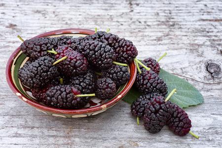Black mulberry  (Morus nigra), pile of berries in the bowl Stock fotó