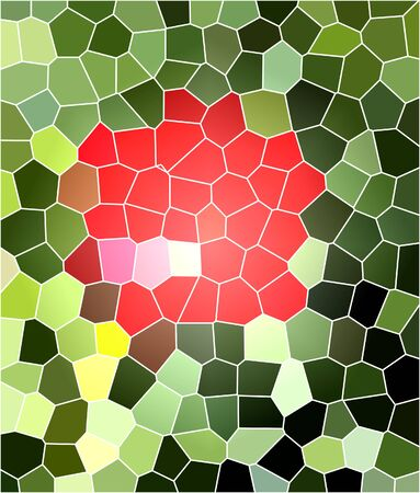 Bright red spot on green mosaic background. Abstract flower