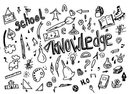 Sketchy vector School doodle hand drawn element with lettering school and knowledge light bulb, geometry triangle doodle cartoon