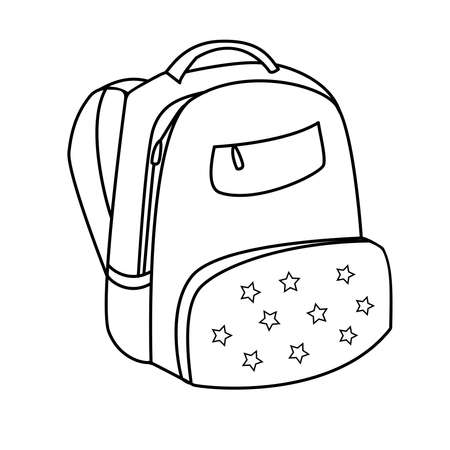 Vector hand drawn sketch doodle backpack with the stars. Vector illustration. Back to school. Outline
