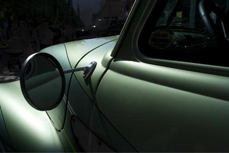 Retro car fragment at night