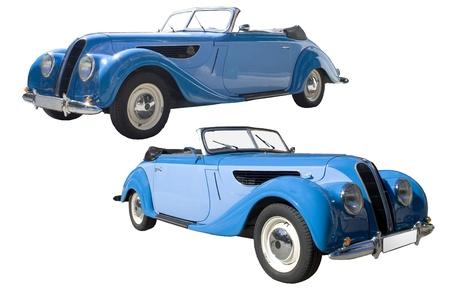 Classic retro blue car. 2 views. Stock Photo