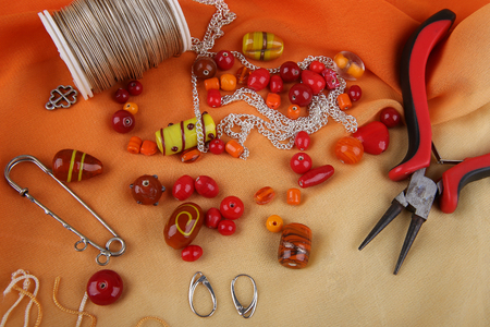 bead jewelry: Bead jewelry making as a hobby Stock Photo