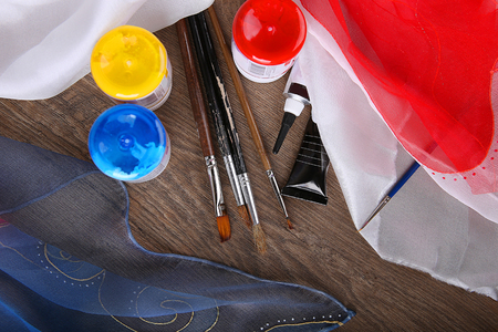Silk painting supplies for hobby Stock Photo