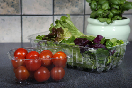 Tomatoes and lettuce in package